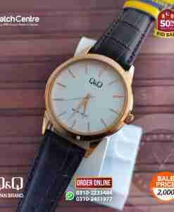 q&q by citizen japan Q860J111Y model brown leather and simple dial men's dress watch
