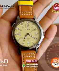 q&q by citizen japan QB12J515Y model youth camel leather and light yellow dial dress watch