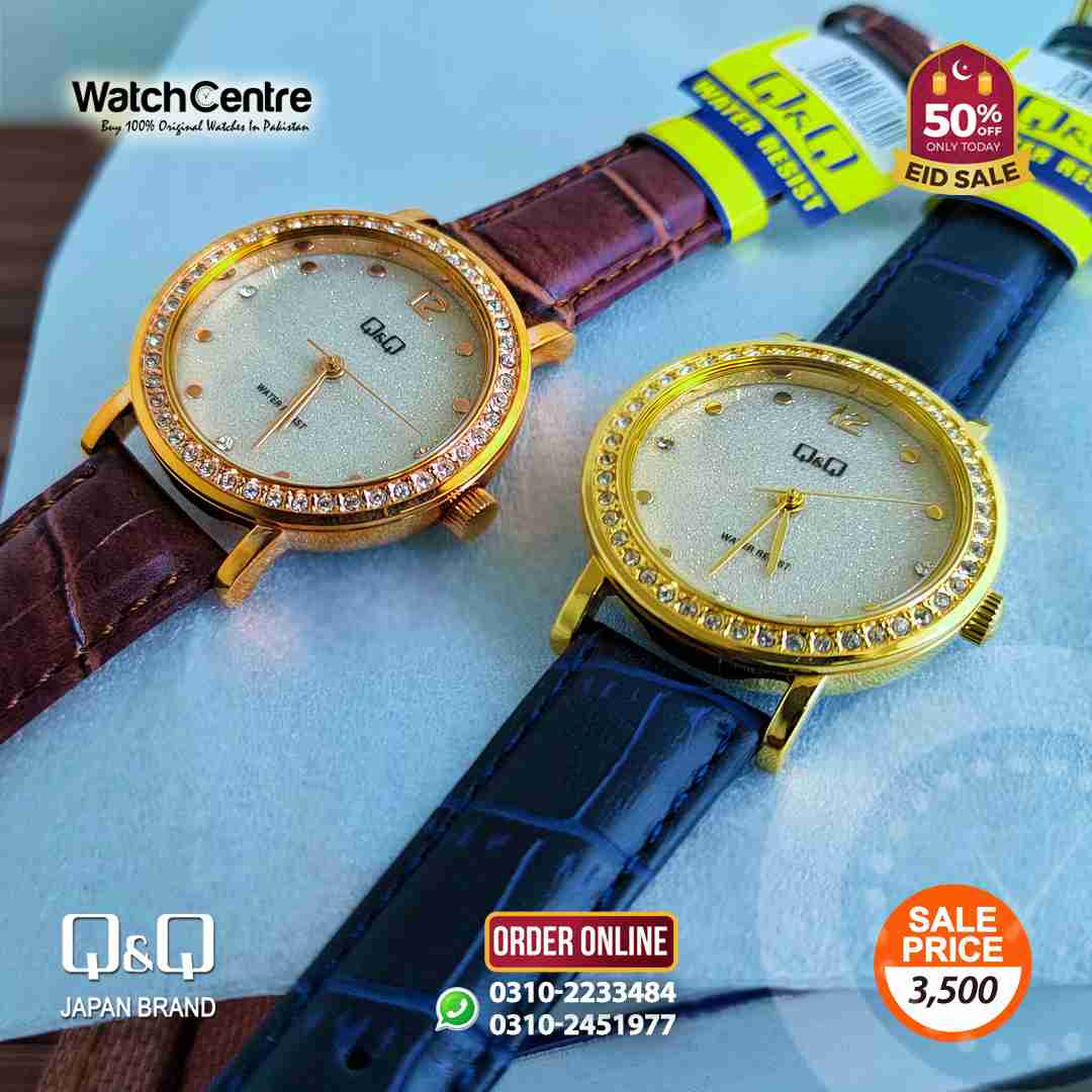 q&q by citizen japan blue & brown leather ladies wrist watches with attractive golden dial