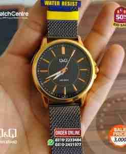 q&q by citizen japan QB66J412Y model black mesh strap gents dress watch