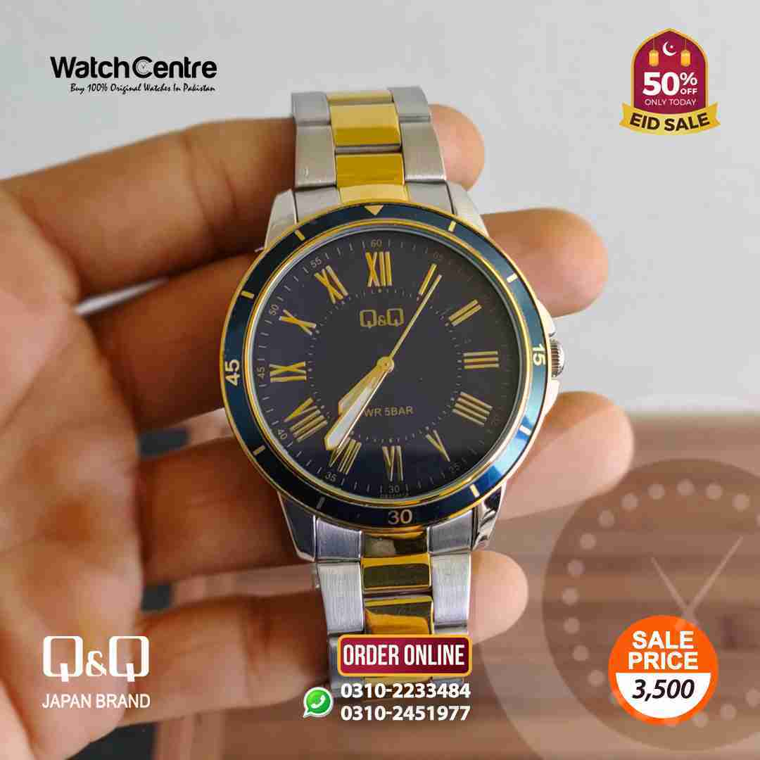 q&q by citizen japan QB22J418Y model golden silver chain & blue roman dial gents gift watch