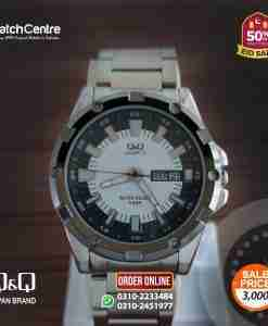 q&q by citizen silver stainless steel chain mens watch wtih white black analog day & date dial