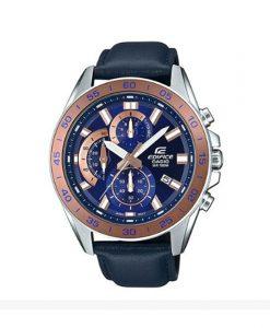 Casio Edifice EFV-550L-2AVUDF model men's blue leather strap & chronograph dial wrist watch