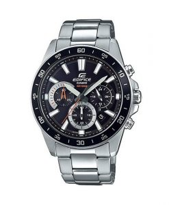 casio edifice efv-570d-1avudf model mens watch in silver stainless steel strap & black chronograph dial