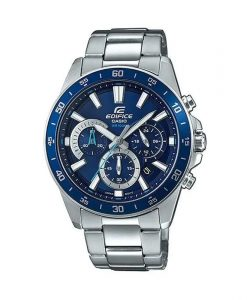 casio edifice efv-570d-2avudf model mens chronograph wrist watch in blue dial & silver stainless steel strap
