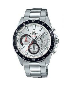 casio edifice efv-570d-7avudf model mens wrist watch in silver steel strap & chronograph dial