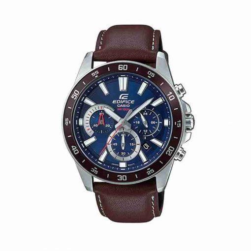 casio edifice efv-570l-2avudf model mens wrist watch in brown leather strap & blue chronograph dial
