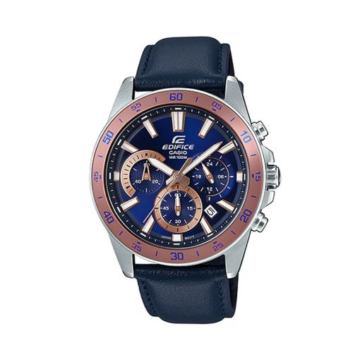 casio edifice efv-570l-2bvudf model watch in blue leather strap & blue chronograph dial with rose gold details
