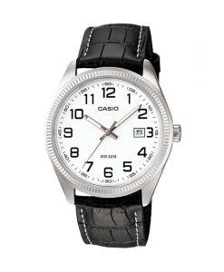 Casio MTP-1302L-7B black leather strap & white numeric analog dial men's wrist watch