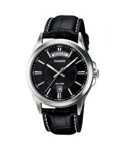Casio MTP-1381L-1AV Enticer series men's executive wrist watch in black leather strap & black analog dial