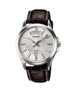 Casio Enticer MTP-1381L-7Av brown leather strap & silver dial men's executive wrist watch