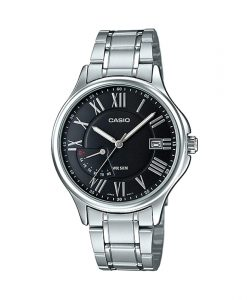 Casio mtp e116d 1av men's black roman dial analog wrist watch in stainless steel chain